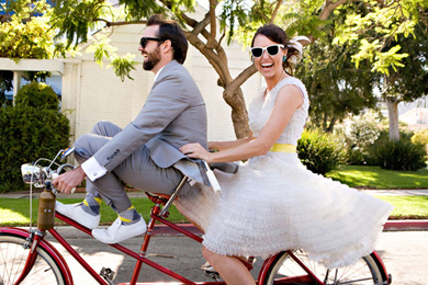 Cortège vélo mariage