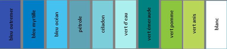 palette de tons bleus et verts
