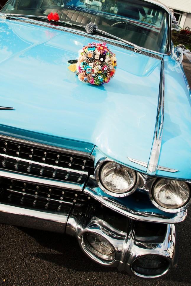 voiture des mariés mariage années 50