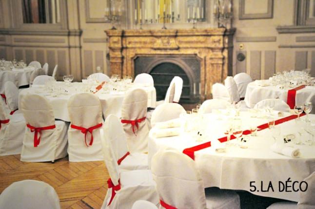 préparatifs de la veille : salle décorée