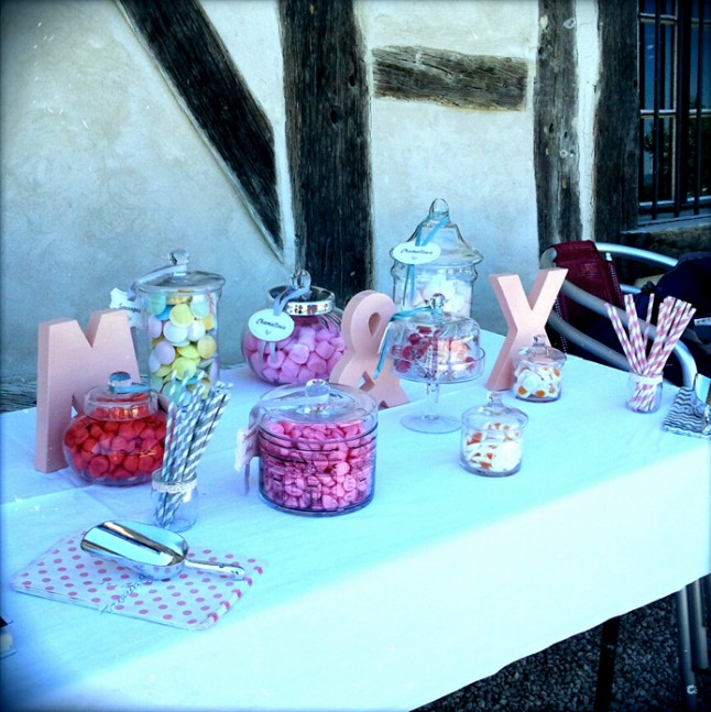 mariage rose champetre candy bar