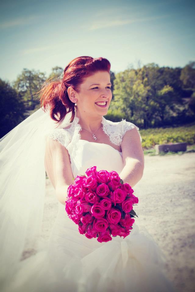 mariée bouquet fuchsia