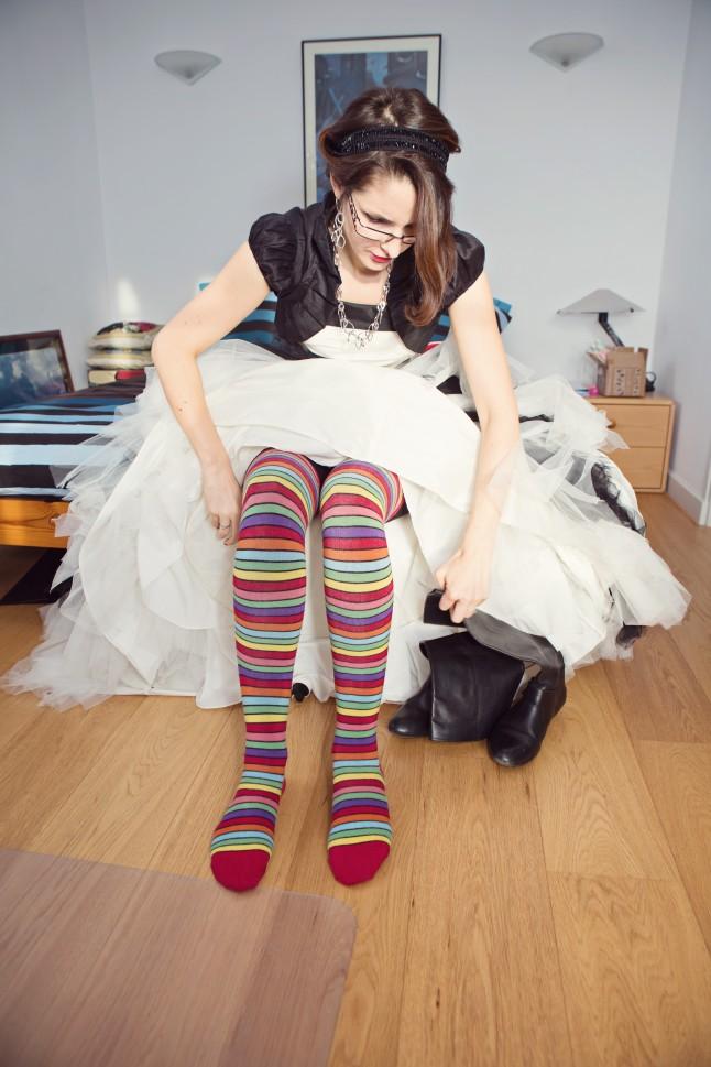 chaussettes rayées mariée