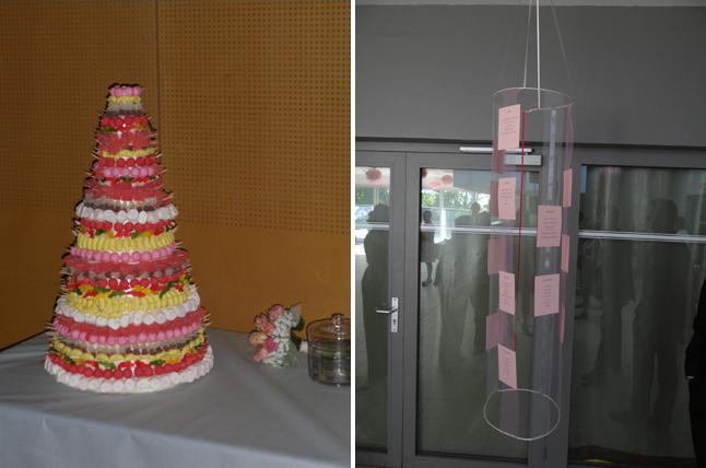 mariage rose et gris piece montée plan de table