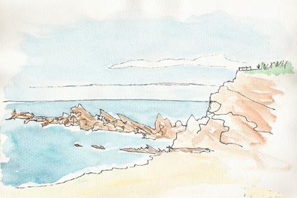 peinture falaise et mer