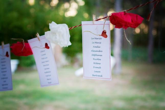 plan de table fleurs rouges