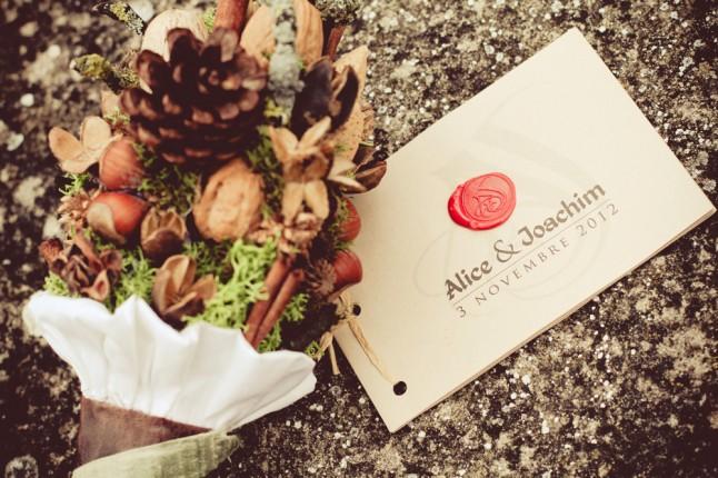 livret de cérémonie et bouquet