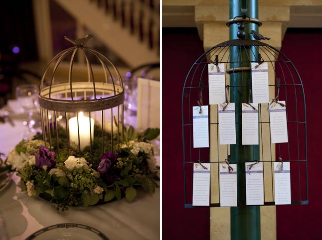 mariage Abbaye de Collonges thème oiseau centre plan table
