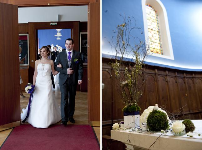 mariage Abbaye de Collonges thème oiseau entrée mariés