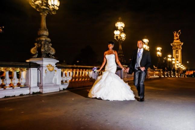 mariage paris péniche photos couple pont