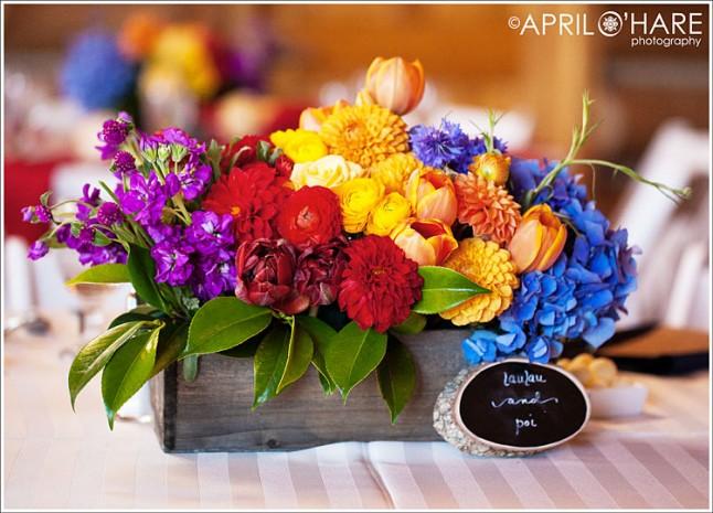 centre de table fleurs multicolores