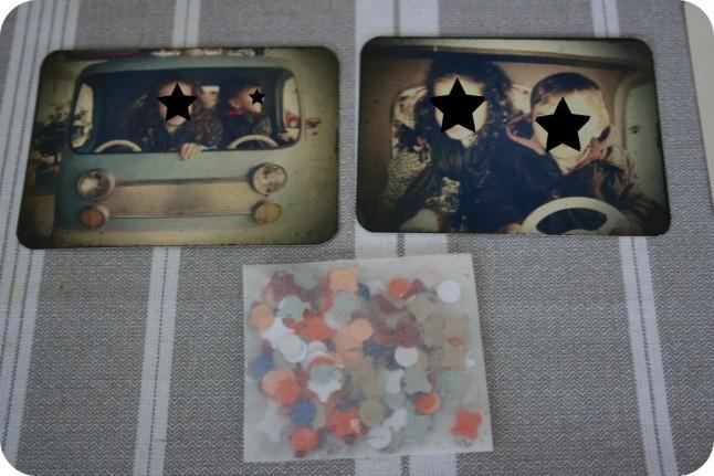 faire-part écolo kraft : photos et confettis