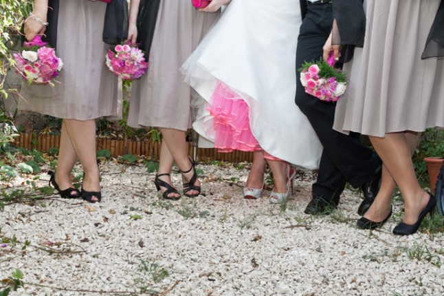 mariage pluie demoiselle d'honneur jupon mariée rose