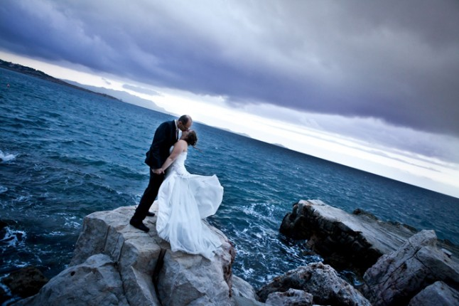 mariage pluie photo mariés