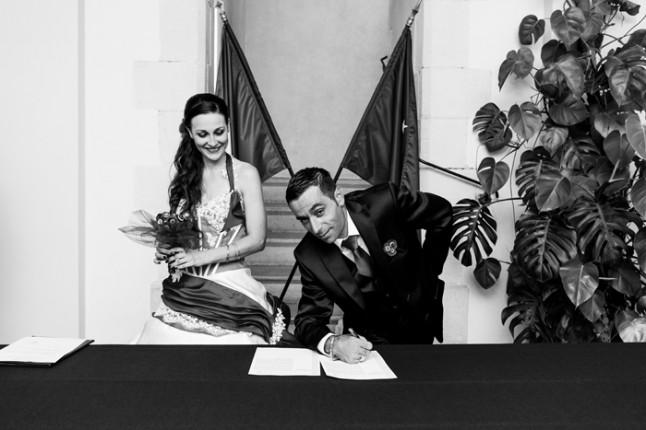 mariage rouge et noir signature