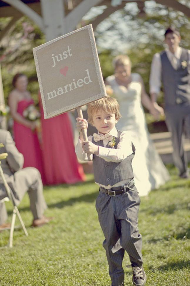 sortie de cérémonie pancarte Just Married