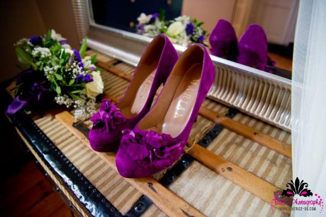 chaussures de mariée violettes