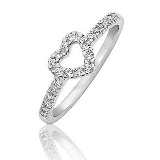 bague or blanc diamants coeur