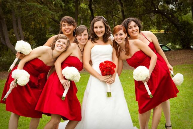 demoiselles d'honneur en rouge