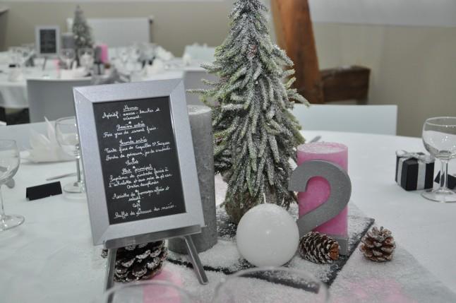 centre de table hivernal et menu