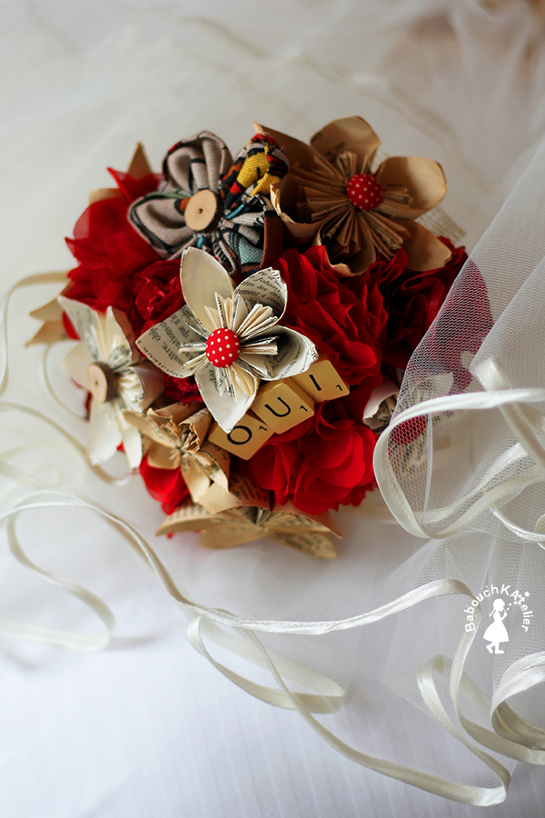 bouquet de mariée DIY fleurs en papier et tissu
