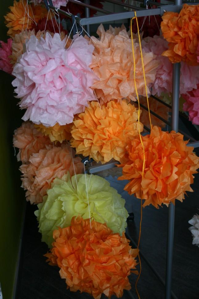 Pompons de soie