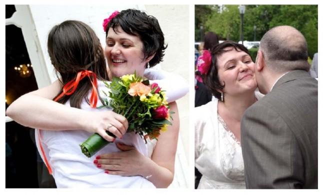 embrassades mariée et invités