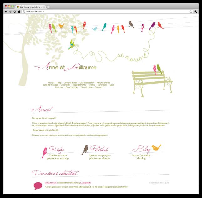 design de site web mariage