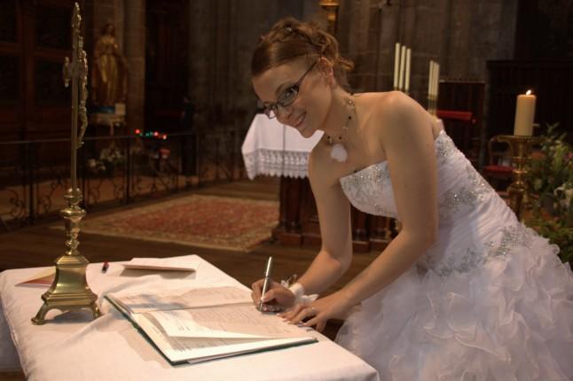 signature registre église mariée