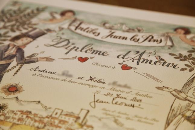 diplôme d'amour amoureux de Peynet mariage à Antibes