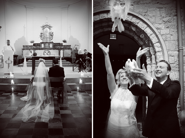 mariage église et sortie d'église lâcher de colombe