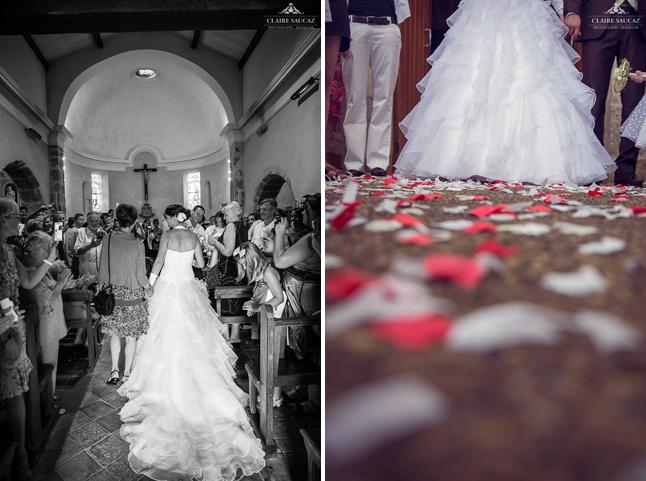 entrée église et sortie confettis mariage landais