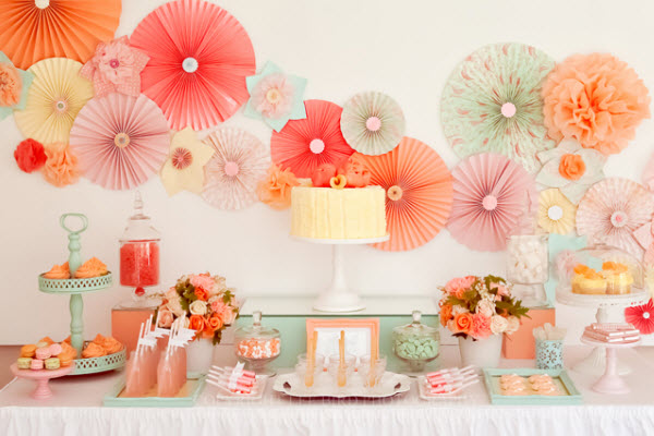 Candy bar corail peche rose mint celadon