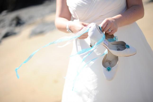 mariée plage chaussures mariage turquoise Bretagne
