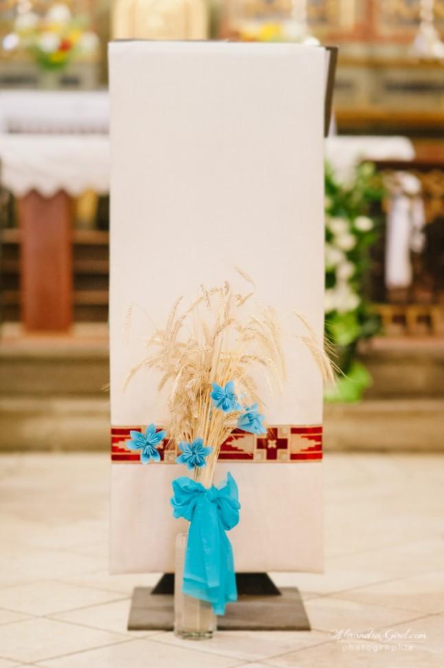 Déco d'église DIY nature turquoise