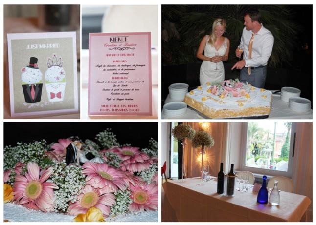 déco de mariage blanche et rose gâteau