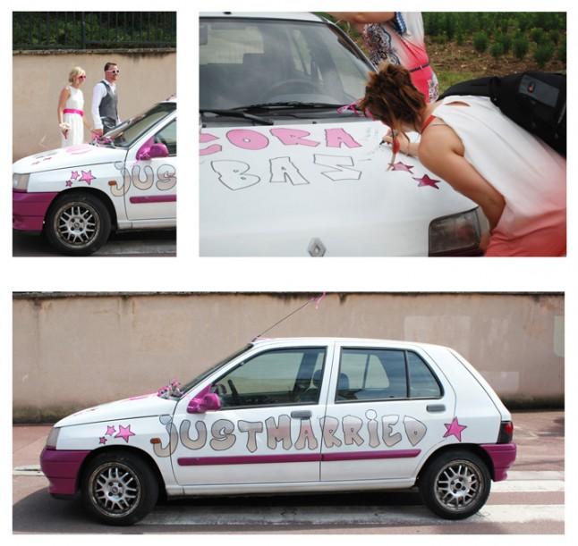 mariage rose et blanc voiture des mariés