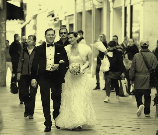 Mariage à Venise départ pour la Mairie