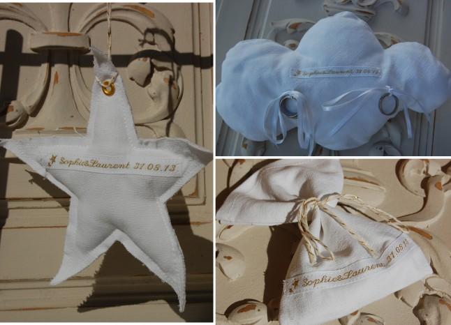 accessoires personnalisés mariage blanc cadeaux invités nuage porte-alliances