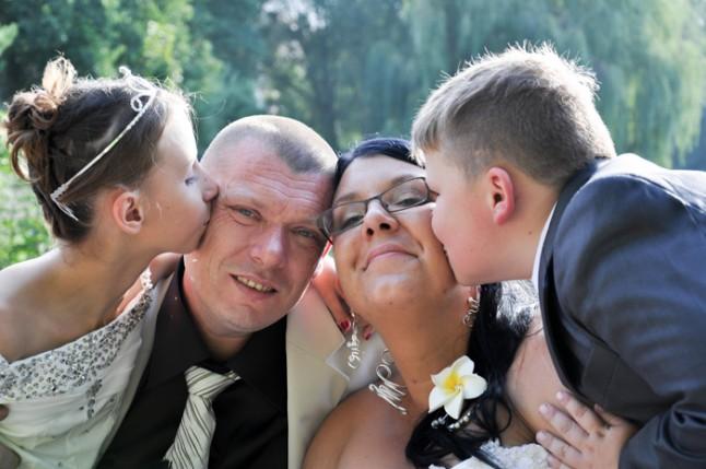 photo mariés et enfants