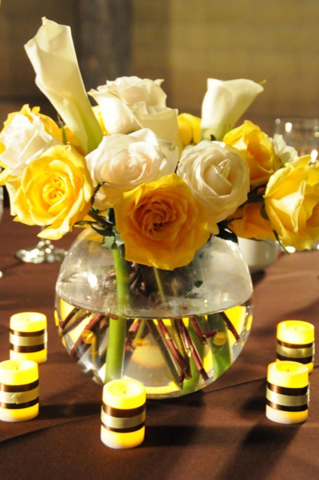 Déco table mariage jaune