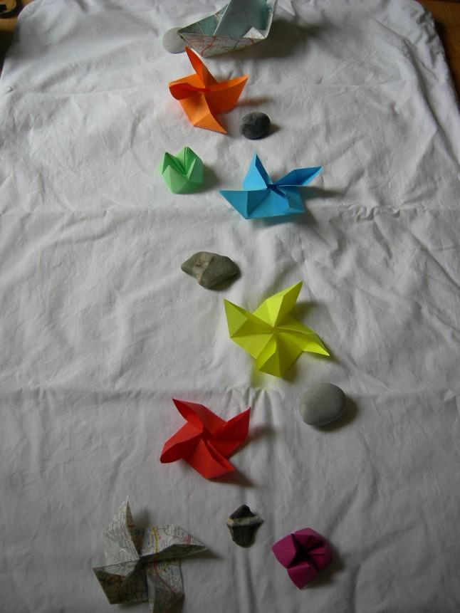 origami multicolores déco mariage