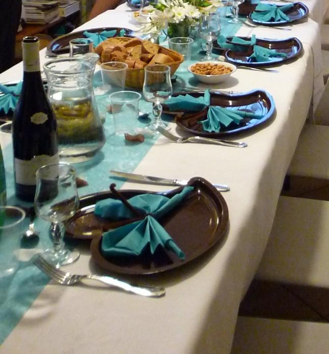 Déco de tables mariage en bleu et blanc