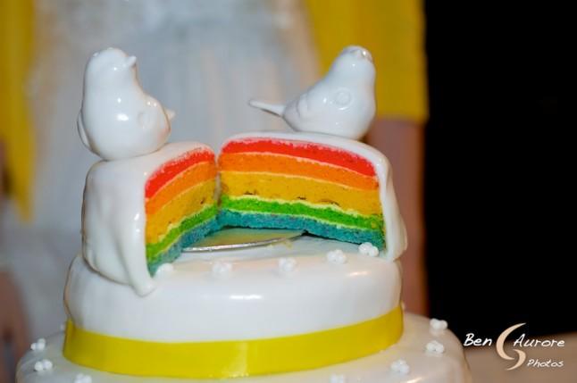 Gâteau de mariage arc-en-ciel DIY