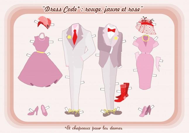 Dress code mariage couleurs rose jaune et rouge