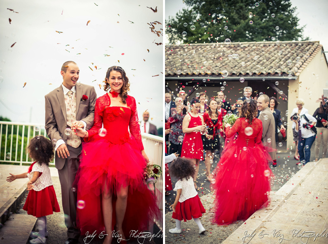 mariage en rouge sortie bulles et samares