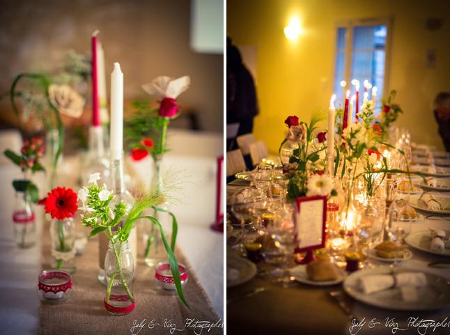 mariage en rouge déco de table fleurs et bougies