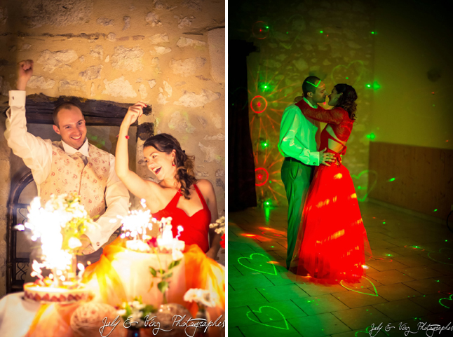 mariage en rouge gâteaux et première danse