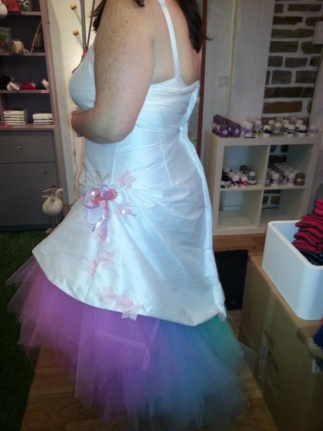 Robe de mariée sur mesure tulle multicolore