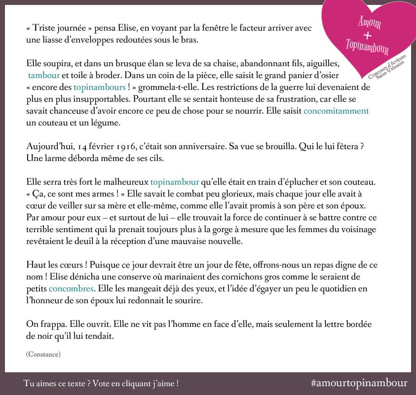 Texte Amour Topinambour de Constance